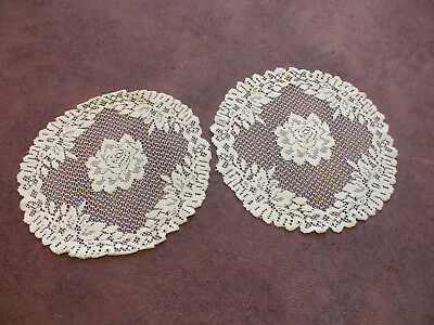 Beautiful Collectible Heritage Lace Doily Set 2 Off White 17 x 15 & 15 x 14 NICE