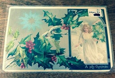 Victorian Beautiful Antique VTG Christmas Postcard- Angel, Star, Embossed Holly