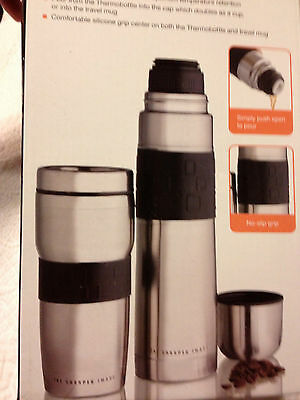 SET OF 3~~Sharper Image Stainless Thermos,Travel mug & Sports Bottle~~ship free