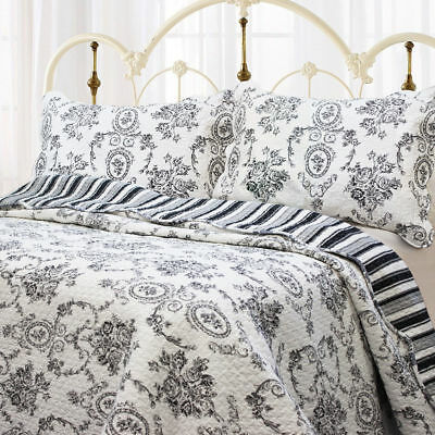 Black White Cameo Toile Medallion Floral KING 3pc Quilt Set NEW Country French