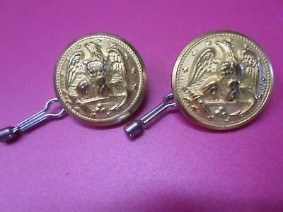 2 U.S. Navy Dress Buttons WW 2 or later Vintage Waterbury Co Gold Brass
