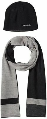 NEW Calvin Klein Men's Hat & Scarf Set - Black/ Heather Gray - Size: One Size