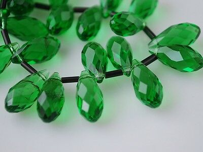 20pcs 16X8mm Teardrop Faceted Crystal Glass Pendant Loose Beads Grass Green New