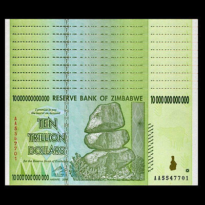 Lot 10 PCS, Zimbabwe 10 Trillion Dollars, AA/2008 Series, P-88, UNC,1/10 Bundle