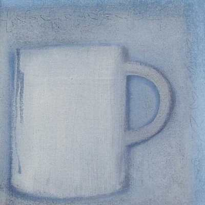 Jessica Cooper Original Acrylic And Oil Painting - Small White Cup (Cornish Art)