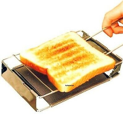Folding Toaster Stainless Steel Camping Grill Stove Fishing Hiking Travel Outdoo