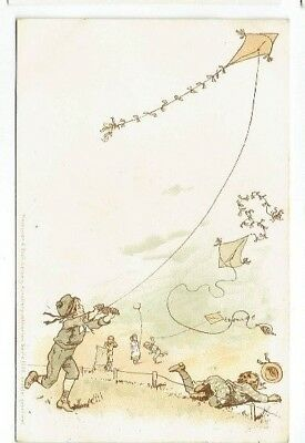Childrens Postcard Kite Flying Meissner & Buch Chromo-Litho Vintage Used 1905