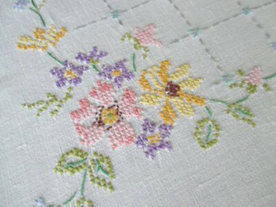 Vintage Tablecloth Hand Embroidered Pretty Flowers-Cross Stitch
