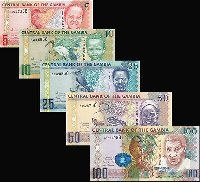 Gambia Dalasis / 5 Notes - Full 2010 Set / All UNC Direct from Mint Rolls