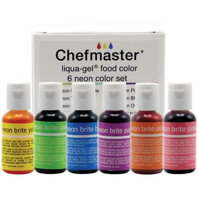 CHEFMASTER LIQUA-GEL FOOD Color Coloring 6pc Set NEON BRITE Colors ...