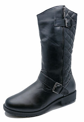 Ladies Flat Black Quilted Zip-Up Biker Calf Rock-Chick Work Boots Shoes Sizes 3-