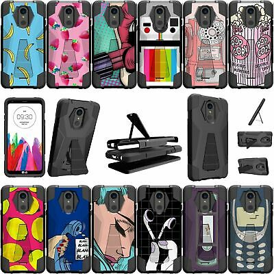 For LG Stylo 4 and LG Stylus 4 Shockproof Dual Bumper Case - Vintage