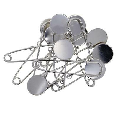 10x Blank Brooch Settings Lapel Safety Pins Hijab Pins Base Findings Silver