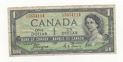 **1954** Canada $1 Devil's Face Note Coy/Tow CA 5854114, BC-29a