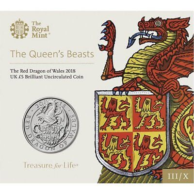 2018 United Kingdom £5 BU Coin Queen's Beasts: Red Dragon of Wales Y Ddraig Goch