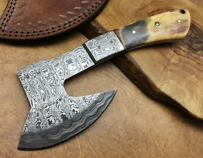 TITAN Handmade Damascus Steel Small Ax Camping Bush Craft Beautiful Gift-x Olive