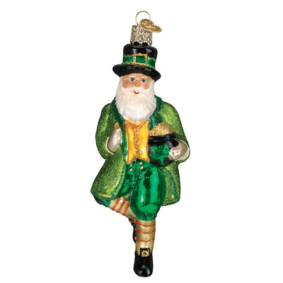 """Irish Santa"" (40201)X Old World Christmas Glass Ornament w/ OWC Box"