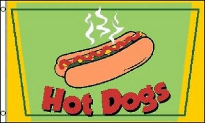 HOT DOGS Flag Restaurant Advertising Banner Food Stand Pennant Dog Tent Sign 3x5