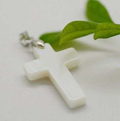 "Charm White Shell Mother of Pearl Cross 925 silver Pendant with 18"" Necklace"