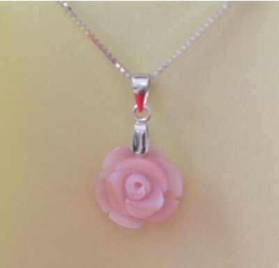 "Charm White Pink Shell Mother of Pearl Rose 925 silver Pendant with 18"" Necklace"