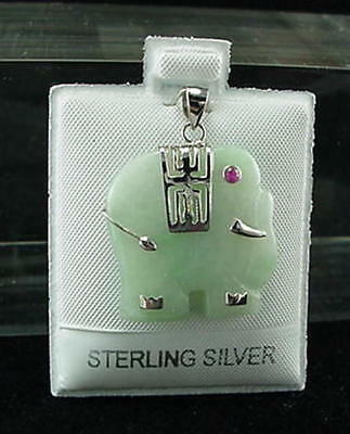 New Sterling Silver Natural Color Jade Elephant Pendant