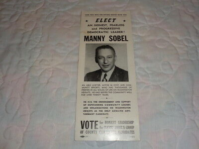 1953 Manny Sobel Democrat Washington Heights New York City Political Flyer