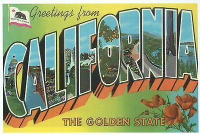 Greetings from california the golden state flag modern large greetings from california the golden state flag modern large letter postcard m4hsunfo Gallery