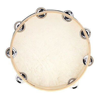 "10"" Pandeiro Drum Tambourine Samba Wood Metal jingles Hand Held Musical Toy B1"