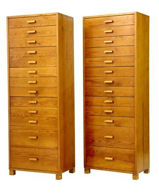 PAIR OF 1950's SWEDISH PINE TALL CHEST OF DRAWERS