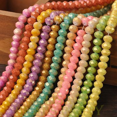 72pcs 8X6mm Bronzing Varnish Rondelle Faceted Loose Spacer Glass Beads Mixed