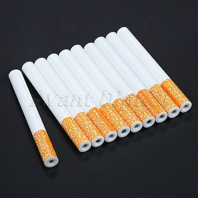 10Pcs 78mm Cigarette Shape Metal Pipe Smoking Accessories Tobacco Pipe