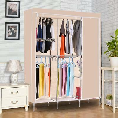 Large Non-woven Wardrobe With Hanging Rail Shelving Clothes Storage Cupboard