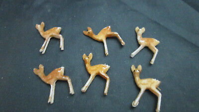 """Craft or Dollhouse Miniature 6 Plastic Small Deer - 3/4"""" by 7/8"""""""