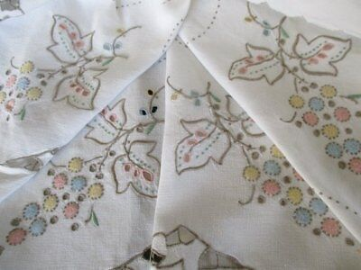 ANTIQUE MADEIRA TABLECLOTH HAND EMBROIDERED in PASTELS