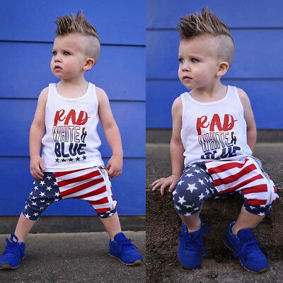 Toddler Baby Girls Boys Stars Striped Tops Vest T Shirt 4th Of July Outfits Set