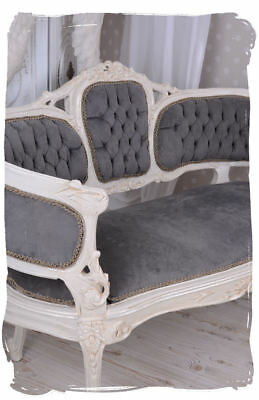 Bench Rococo Style Sofa Couch Grey Velvet Baroque Style Vintage Furniture
