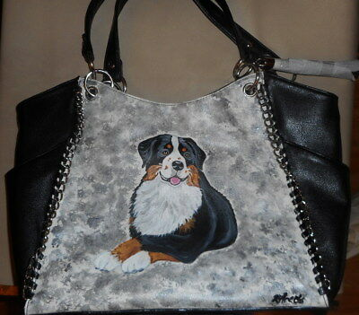 Bernese Mountain dog Hand Painted Leather Handbag Bag Purse SALE