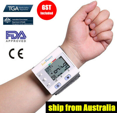 Digital Wrist Blood Pressure Monitor BP Cuff Automatic Machine Gauge Tester Kits