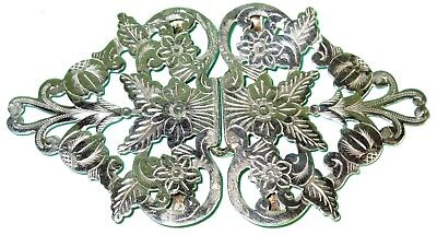 ANTIQUE ORNATE SILVER NURSES BELT BUCKLE BIRMINGHAM c1899 H WILLIAMSON LTD 28.7g