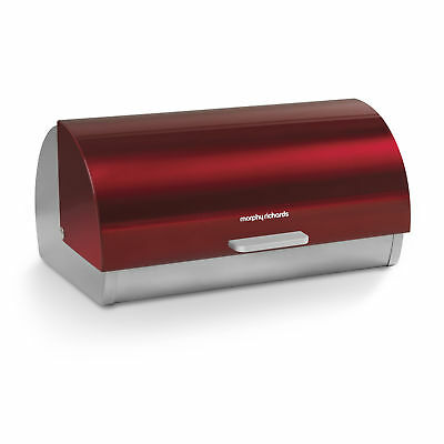 Morphy Richards Red Stainless Steel Bread Bin Roll Top Loaf Kitchen Food Storage