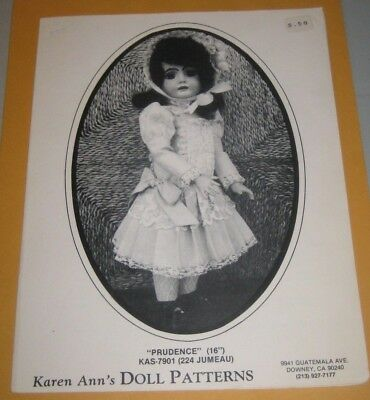 "1980 KAREN ANN'S Doll PATTERNS KAS-7901 PRUDENCE 16"" by KAREN ANN SANCHEZ"