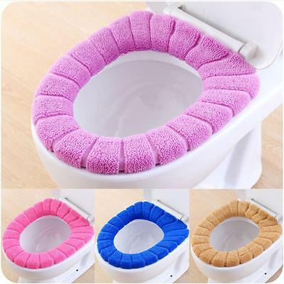 NEW Velvet Coral Bathroom Toilet Seat Washable Soft Warmer Mat Cover Pad Cushion