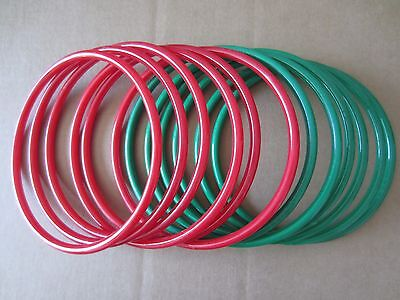 """Lot of 6 Pairs Red & Green 8"""" Round Plastic Macrame Purse Handles Craft Ring"""