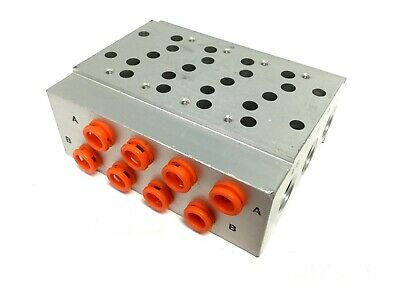 "SMC SS5Y5-41-04-N7T Manifold Base, For 4x SY5000 Valves, Ports: 1/4"" NPT"