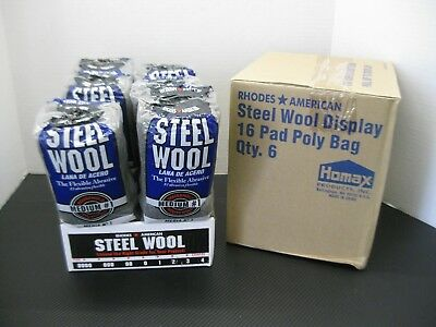 Rhodes American Steel Wool 16 Pad Poly Medium Grade #1 Case of 6 Bags