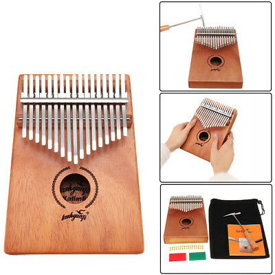 17 Keys Kalimba African Solid Mahogany Wood Thumb Piano Finger Percussion Gifts