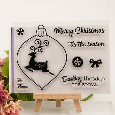 Merry Christmas Deer Transparent Clear Silicone Stamp Seal DIY Scrapbook Card