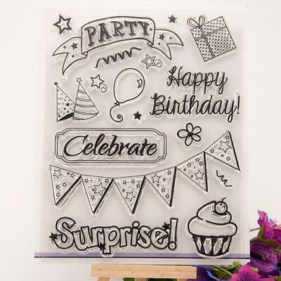 Happy Birthday Party DIY Silicone Clear Rubber Stamp Sheet Scrapbooking Album