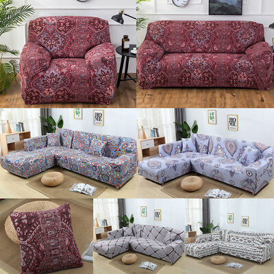 1/2/3/4 Seater Elastic Sofa Cover Slipcover Set Couch Stretch Arm Chair Loveseat