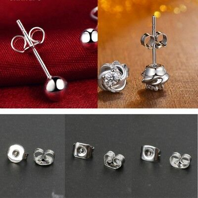 100pcs Butterfly Clutches Surgical Steel Replacement Earring Backs Tone Sliver